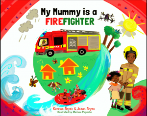 World book day Book cover with female firefighter, fire engine, sunshine