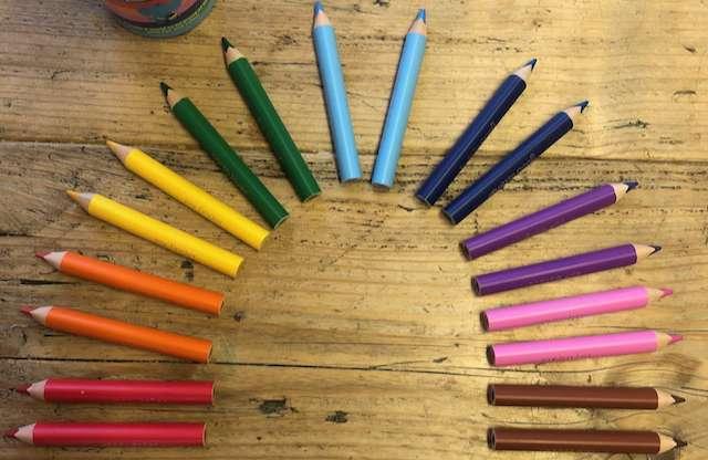Rainbow made of pencils