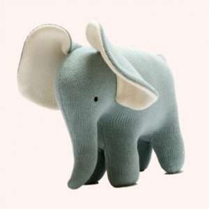 Large Teal Elephant Knitted Organic Toy